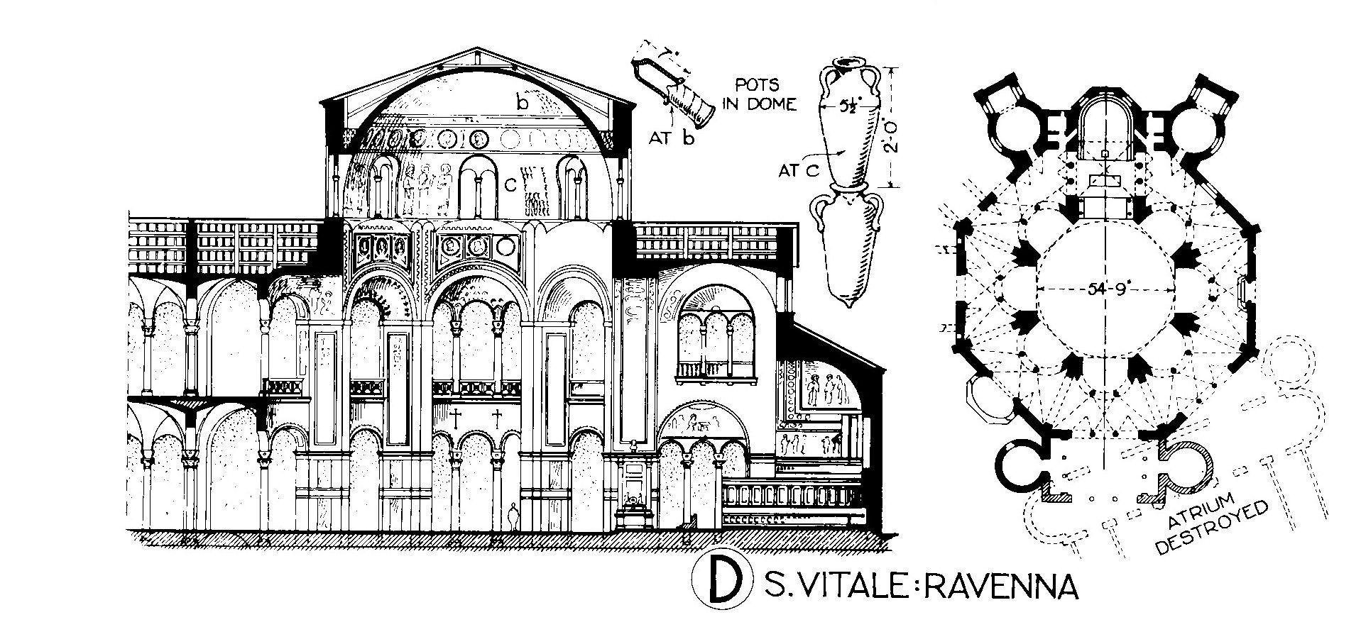 Ravenna San Vitale Pianta E Prospetto Ravenna Ravenna Italy Byzantine Architecture