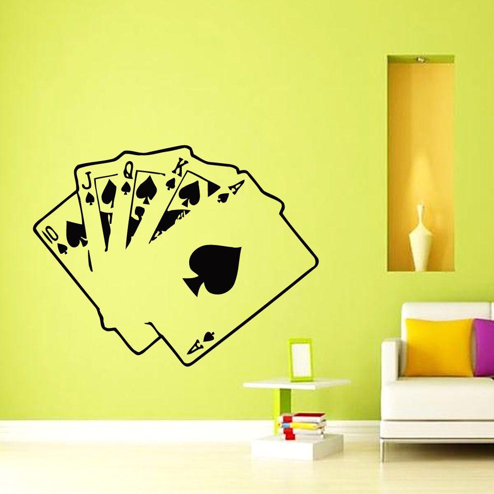 Wall Vinyl Decal Cards Poker Casino Living Room Home Decor Chu1230 ...