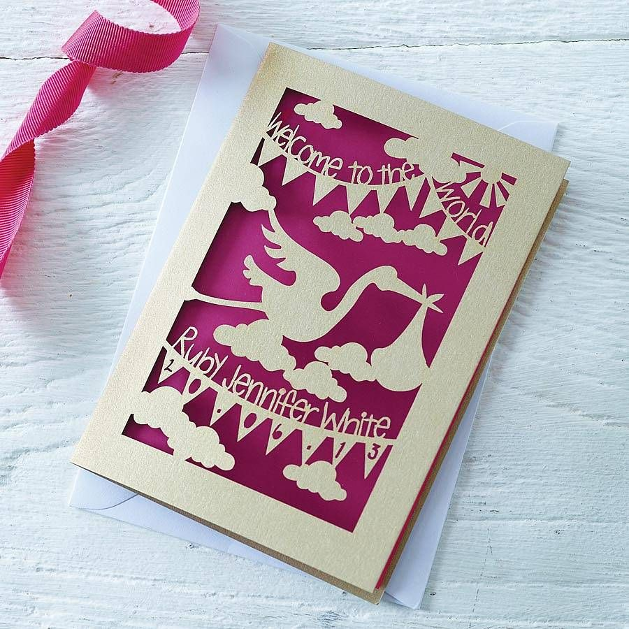 Personalised New Baby Papercut Card Babies, Paper