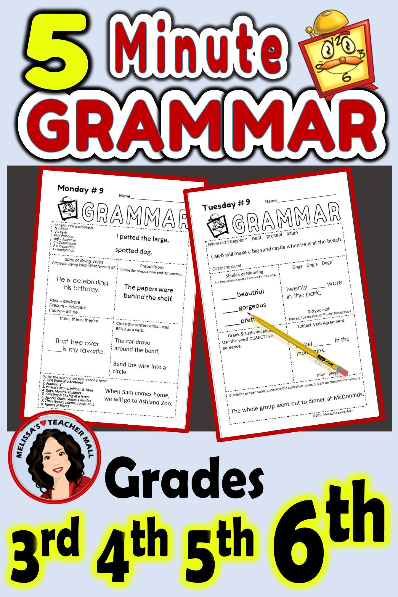 5 Minute Grammar Daily Grammar Worksheets 6th Grade