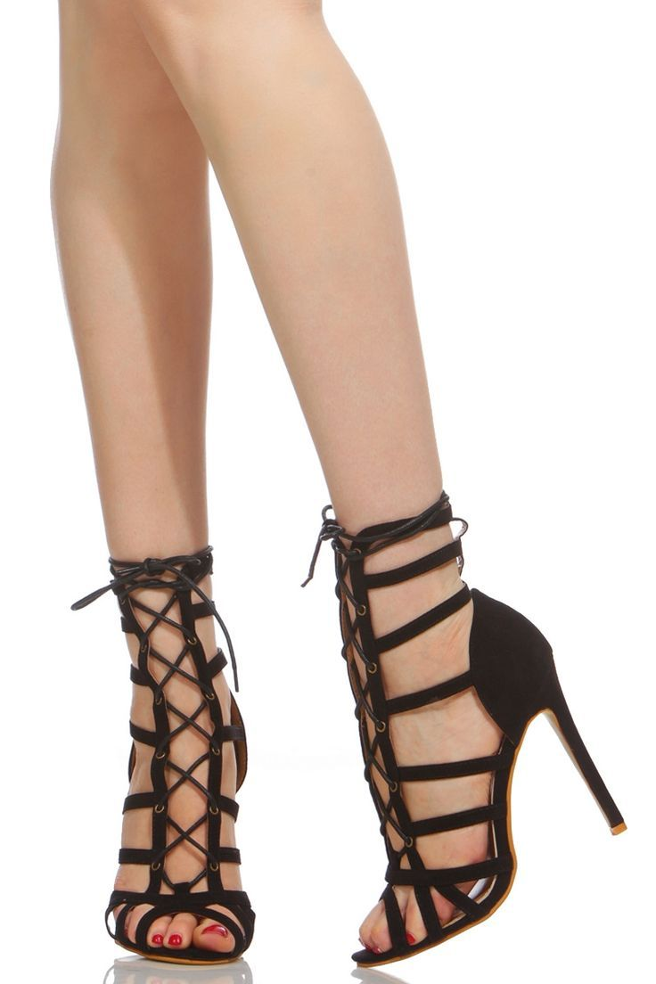 72363d2c4fa4 nice Black Faux Suede Cage Lace Up Single Sole Heels   Cicihot Heel Shoes  online store sales Stiletto Heel Shoes
