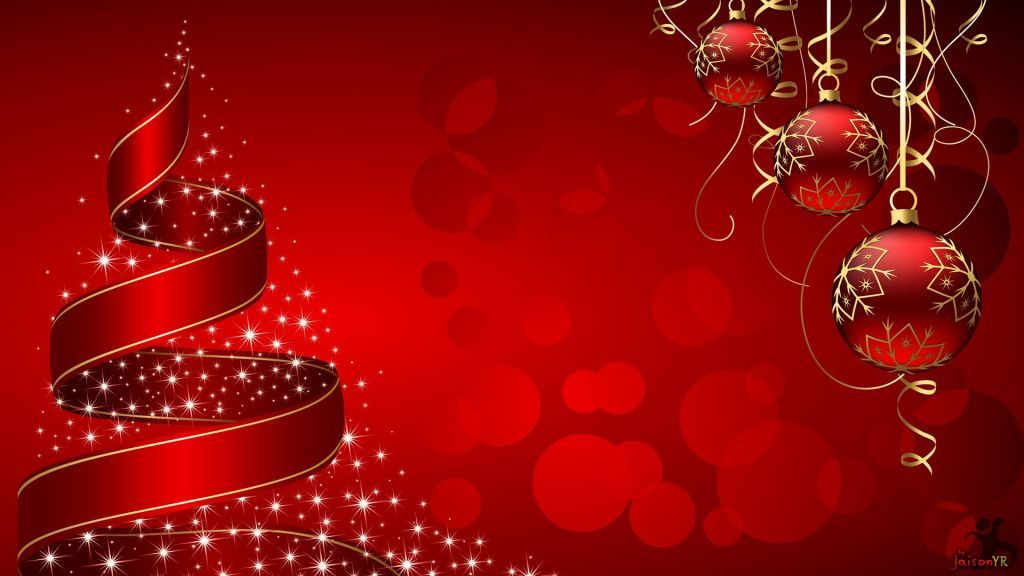 Christmas Tree And Baubles Wallpaper In Red Background Free Download Christmas Wallpaper Free Merry Christmas Wallpaper Free Christmas Wallpaper Downloads