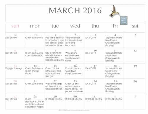 free editable printable march 2016 cleaning calendar making your