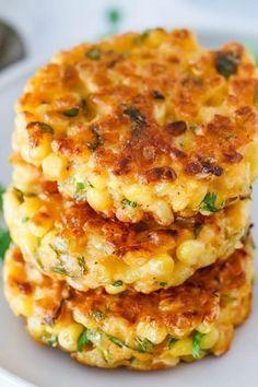 Cheesy Corn Fritters #dinnersidedishes