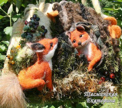 Лисьи деньки - лиса,лес,лисички,грибы,Лисы,сумка с лисой,шесть,бусины