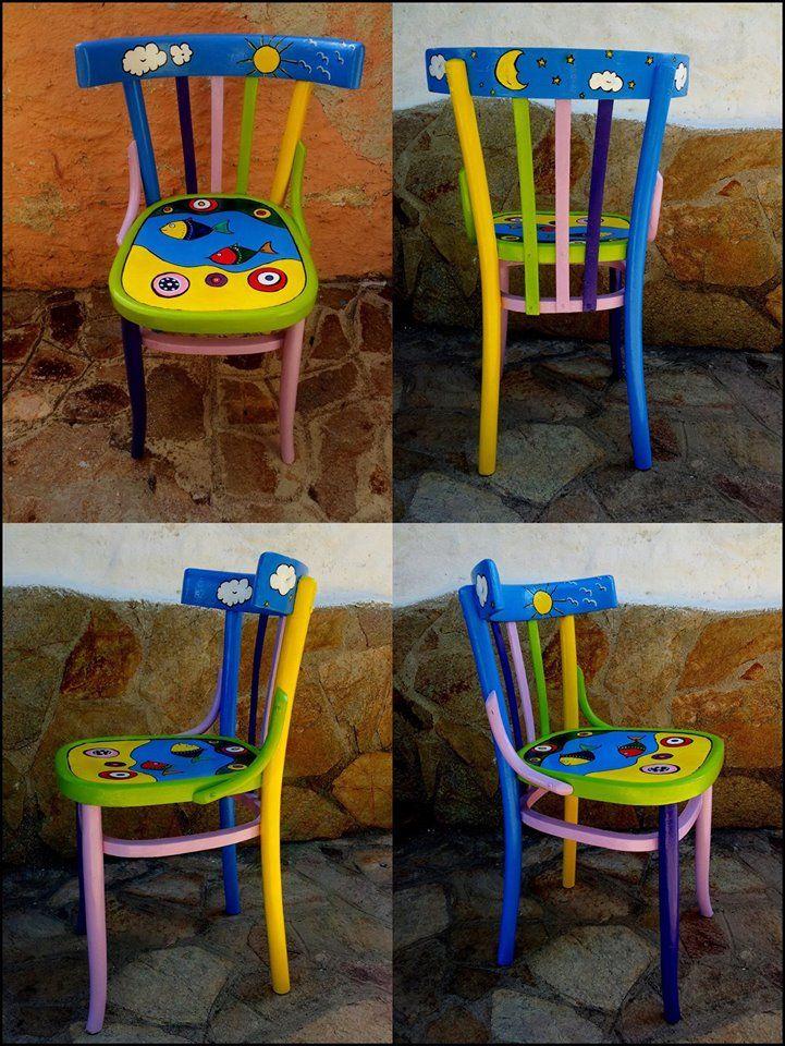 Sedie Decorate A Mano.Sedie Dipinte Da Marilena Floris Nel 2019 Sedie Decorate