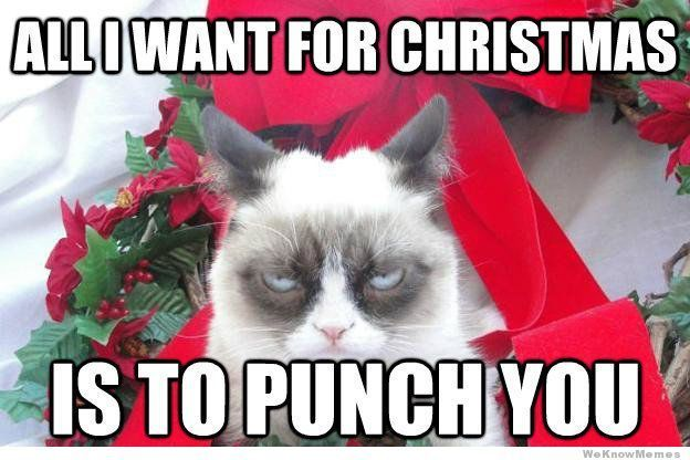 All I Want For Christmas Is To Punch You Christmas Quotes Funny Christmas Holiday Humor Funny Merry Christmas Memes Christmas Memes Funny Grumpy Cat Christmas