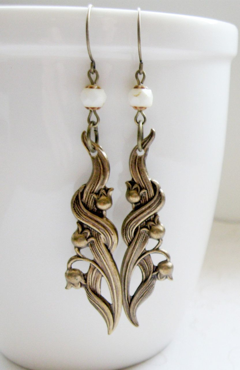 Lily of the valley earrings brass nature jewelry