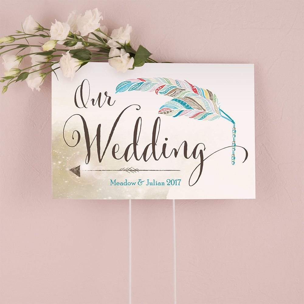 Feather Whimsy Directional Sign Purple