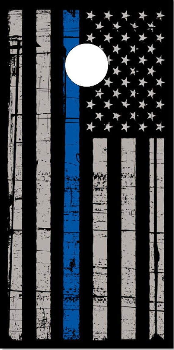 Police Thin Blue Line Flag Cornhole Wrap Bag Toss Decal Baggo Skin Sticker Wraps Laminated or Non La
