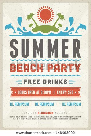 Retro summer party design poster or flyer Night club event - clothing drive flyer template
