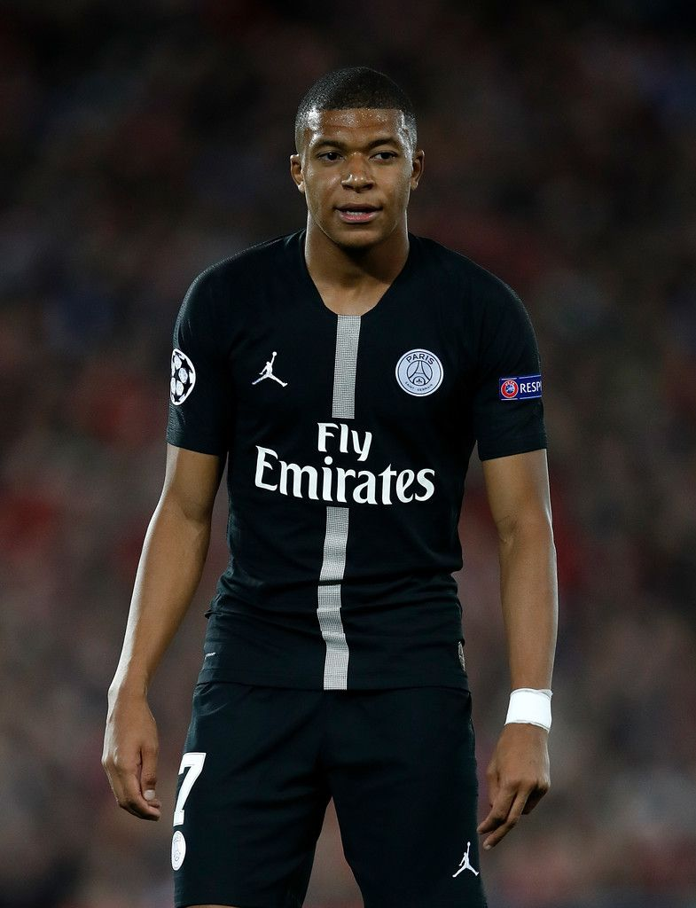 08eecae2d327 Kylian Mbappe Photos Photos - Kylian Mbappe of PSG looks on during the  Group C match of the UEFA Champions League between Liverpool and Paris Saint -Germain ...