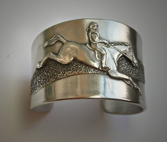 Horse & Rider Cross Country Frieze cuff bracelet by HorseLadyGifts