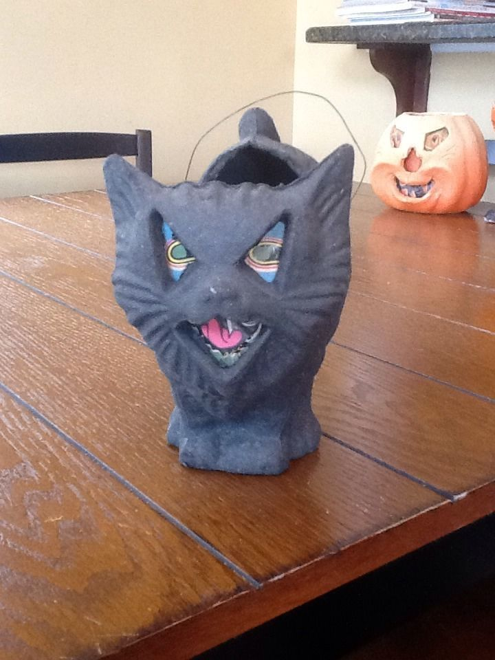 vintage halloween paper mache black hissing cat Vintage