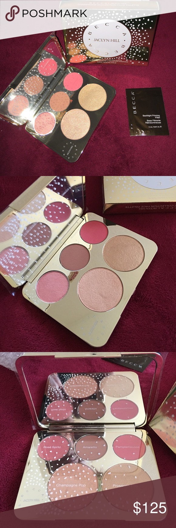 Becca Jaclyn Hill Champagne Pop Collection Palette Brand new in box. Never swatched. Please keep all pricing comments to your sassy self. Listed price is ONLY set for offers, I will also consider reasonable ️ payments. Realistically, I would like to make what I paid. I'm not interested in Kylie Lip Kits, Mac, or any other cosmetics so please, no trading inquiries. Will trade for Michael Kors, Kate spade, or like brand wallet/bag. Thanks ✨ BECCA Makeup Face Powder