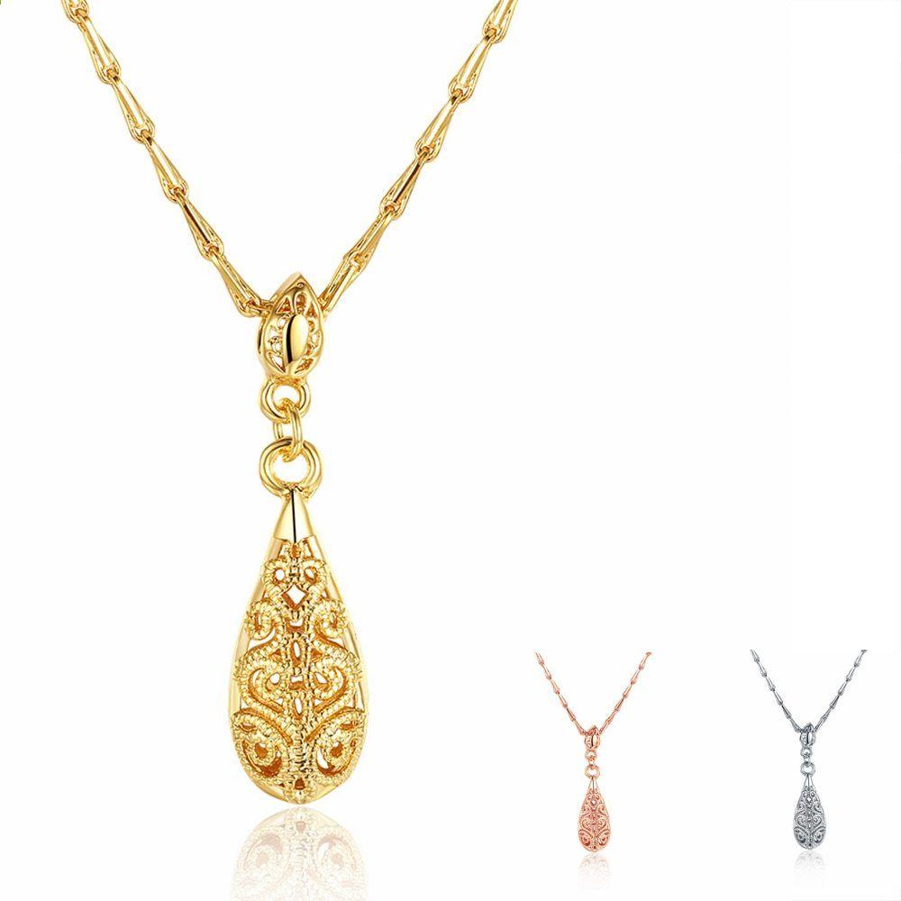 c1425105a 4 * 1cm 925 stříbrné náhrdelníky a přívěsky pro ženy dámské módní lady 3  barva vodní drop přívěsek dámské dutý náhrdelník svatební šperky