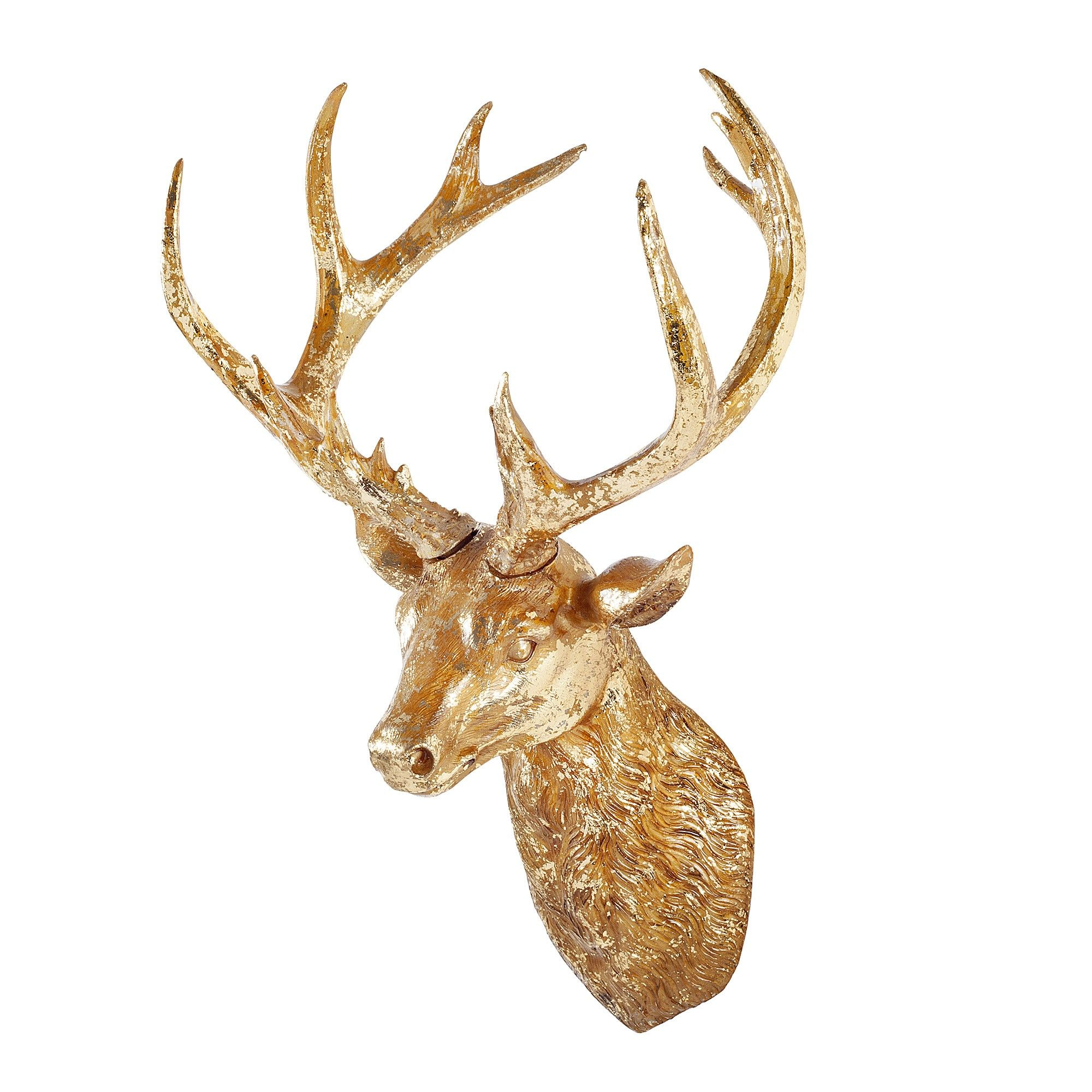 Detailed Antique Gold Finish Resin Stag\'s Head Wall Art   Home ...