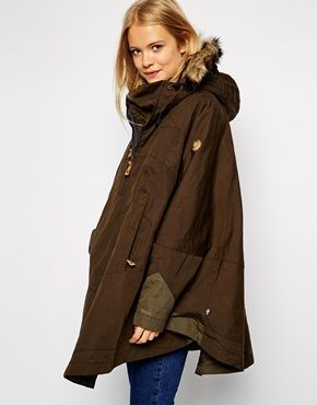 Fjallraven Waxed Cape Coat With Fur Trim Hood  6c64bc62a135