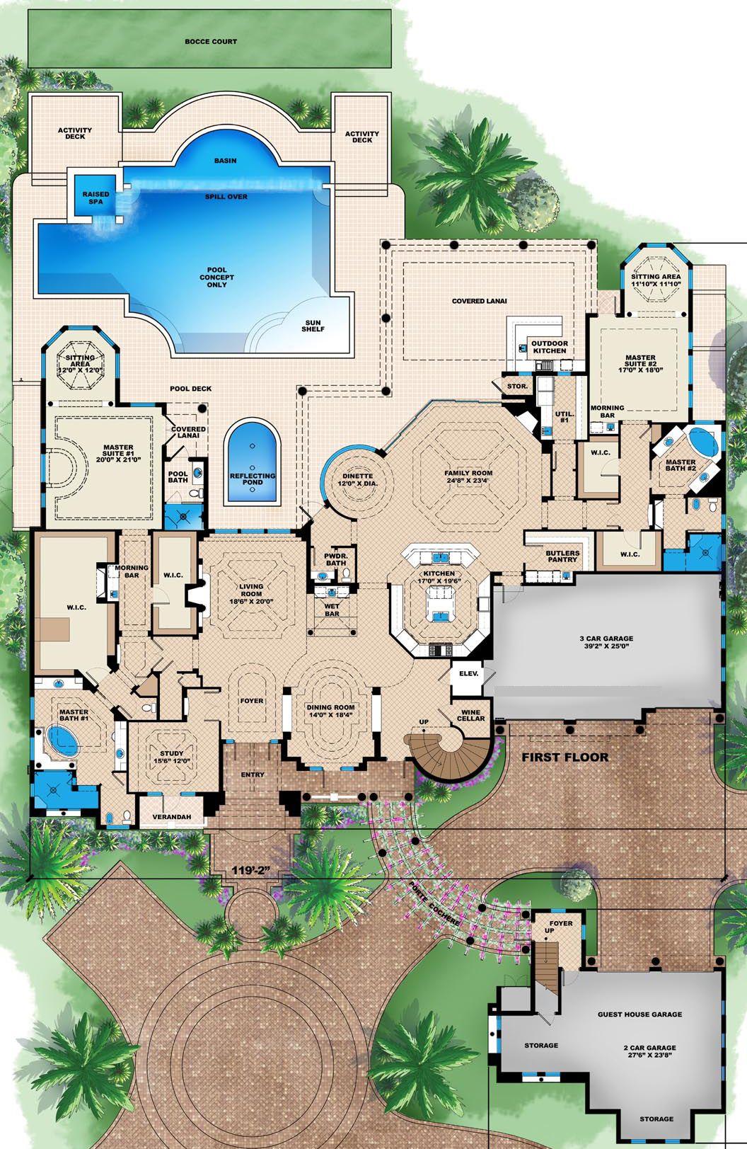 House Plan 1018 00271 Mediterranean Plan 10 662 Square Feet 6 Bedrooms 8 5 Bathrooms Mediterranean House Plans Beach House Plans House Layout Plans