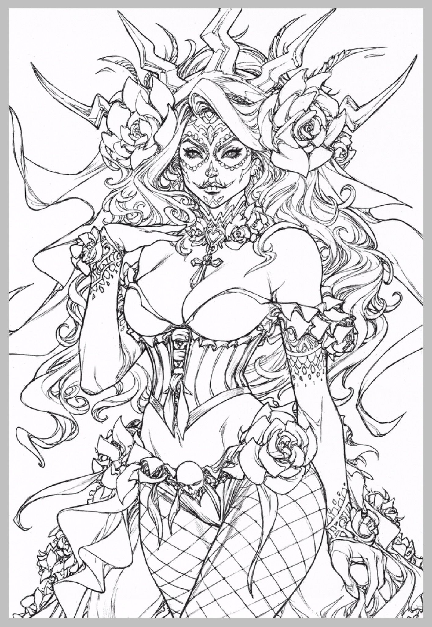 Steampunk Sugar Skull Fairy Coloring Pages Fairy Coloring Skull Coloring Pages