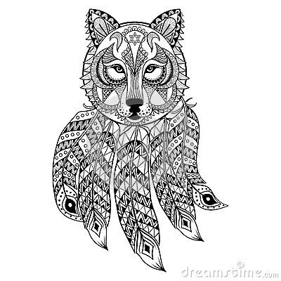Wolf Vector Dream Catcher Coloring Pages Coloring Pages Animal Coloring Pages