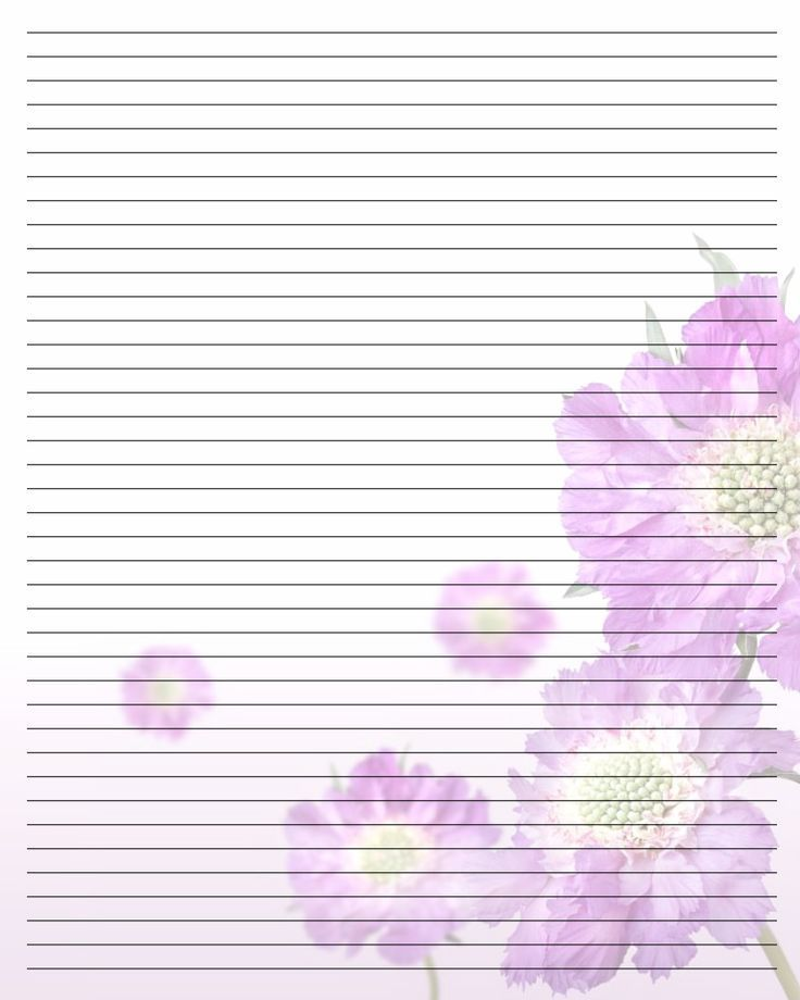 Lined, Purple Flowers, Stationary  Lined Stationary Template