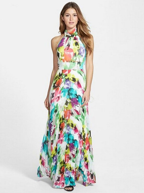 Robe maxi multicolor polyester backless imprim floral for Maxi robes florales pour les mariages
