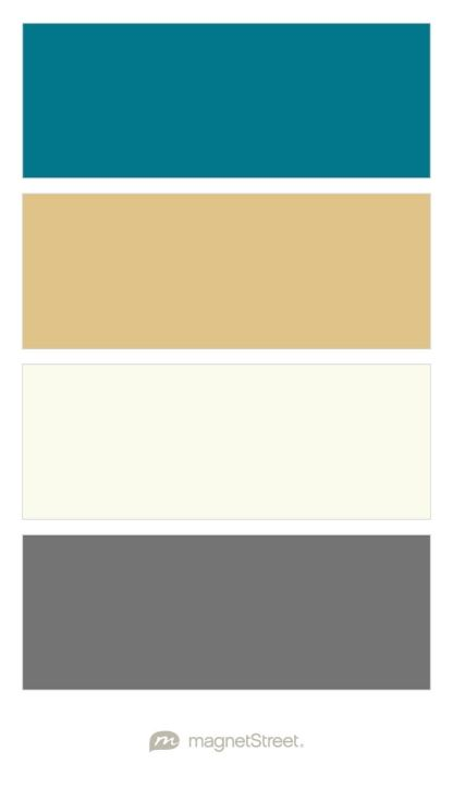 Peacock, Gold, Ivory, and Charcoal Wedding Color Palette - custom color palette created at MagnetStreet.com