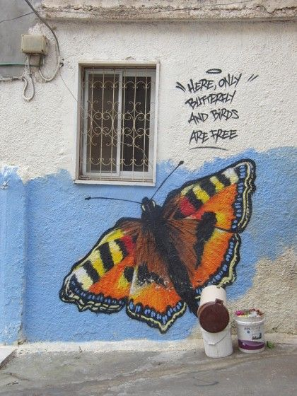 """Palestinian graffitti in a refugee camp: """"Here only butterfly and birds are free"""". Street art as communication and empowerment."""