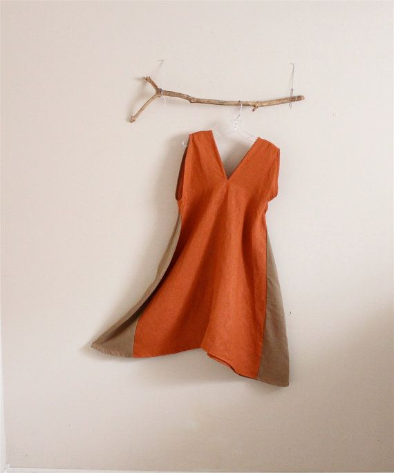 custom rust ginger linen sparrow tunic dress