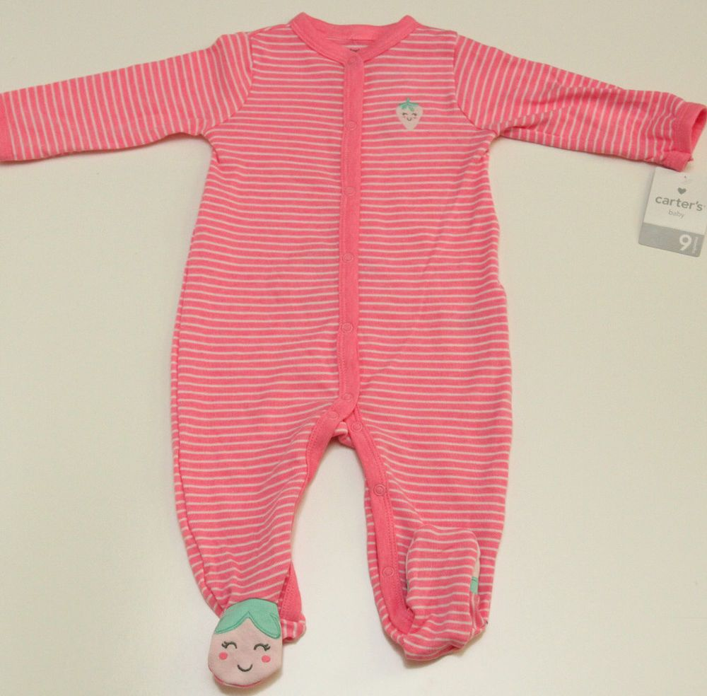 91f55d229 Carter's Girl Lightweight Footed Pajamas~ Size 9 Months ~ Pink ~ Strawberry  ~ #Carters #OnePiece