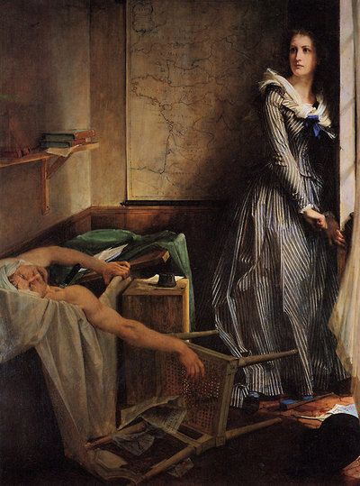 """Paul-Jacques-Aimé Baudry, """"Charlotte Corday"""", 1860 It's the Death of Marat like you've NEVER seen it! That's kinda cool."""