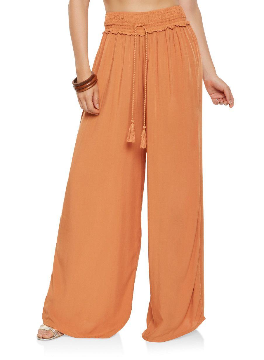 3bf0275b8629 Tassel Tie Palazzo Pants - Orange - Size M