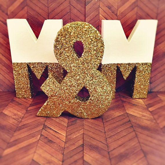 Glitter Gold Letters Self Standing Glitter Baby Nursery By Ajobebe Gold Nursery Decor Wooden Letters Decorated Wooden Letters Diy