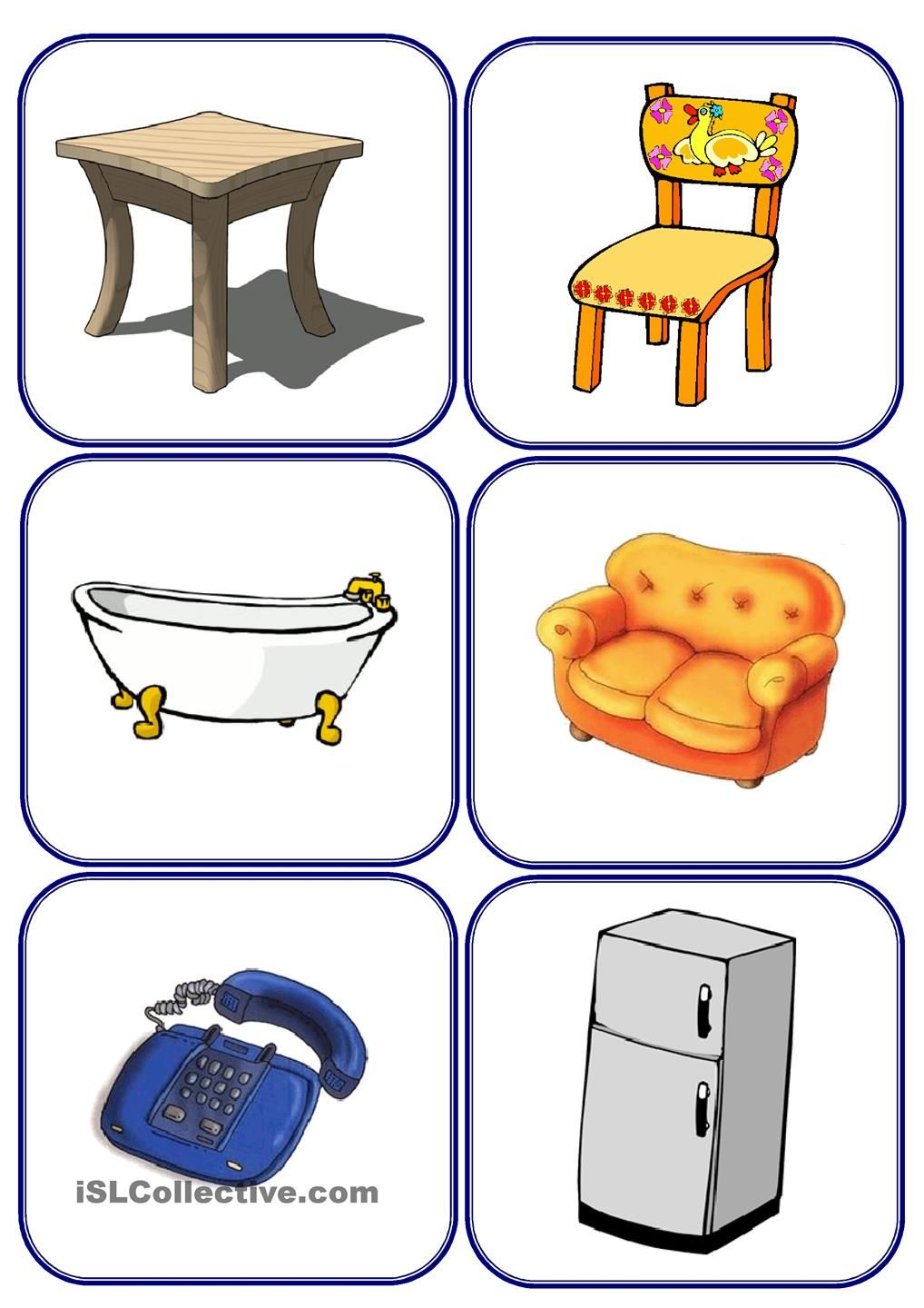 Furniture and parts of the house flashcards anglais for Meuble in english