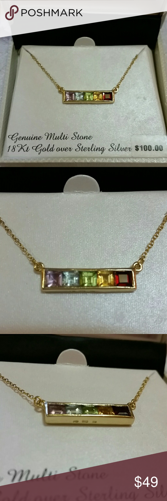 Multi stone bar necklace stone bar purple amethyst and bar