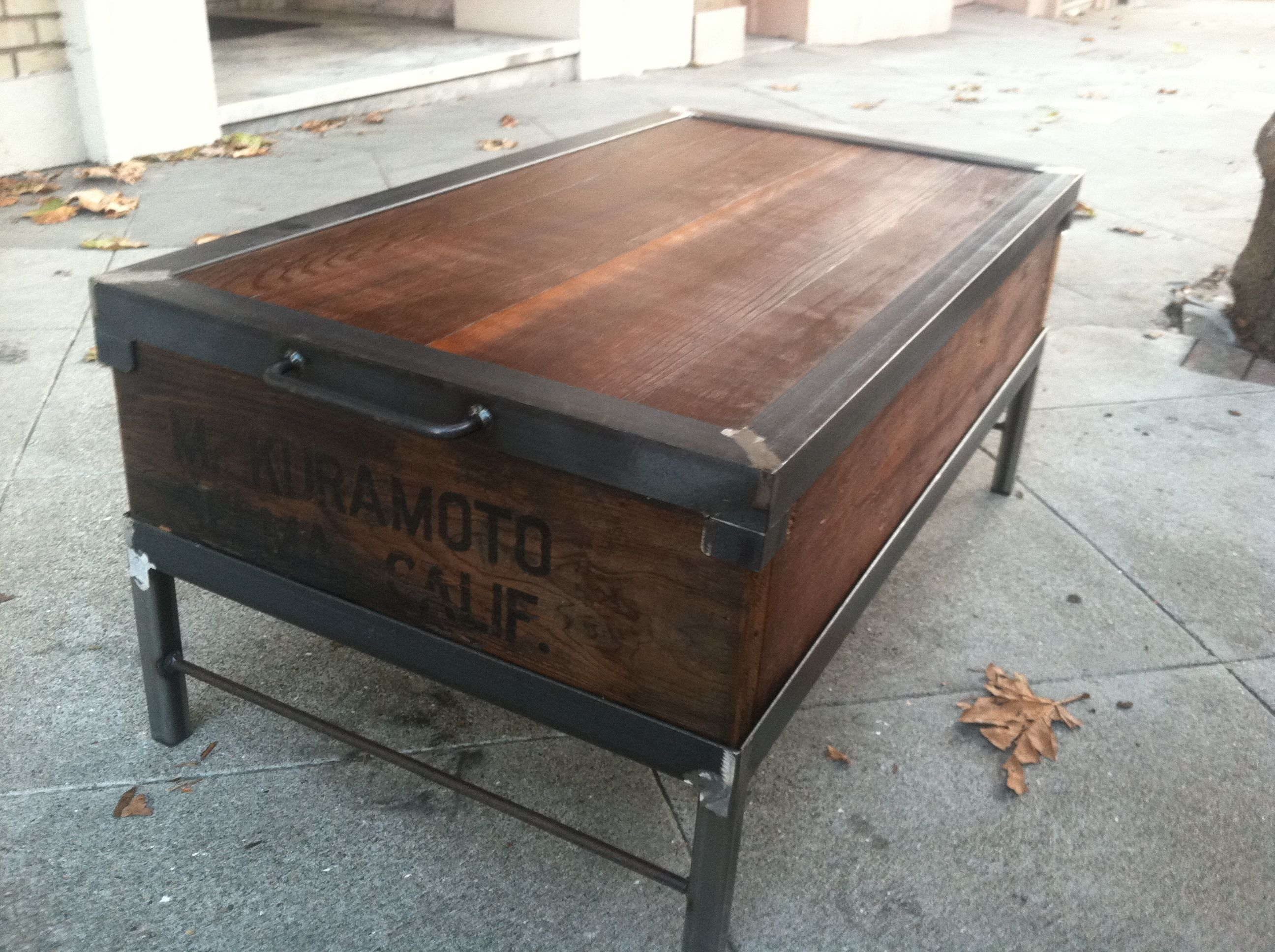 Steel Reclaimed Wood Coffee Table Farming Box From