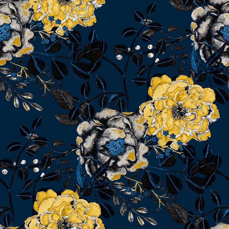 Pamphile Botanical Floral 10 L X 24 W Peel And Stick Wallpaper Roll In 2021 Vintage Flowers Wallpaper Blue Floral Wallpaper Wallpaper Roll