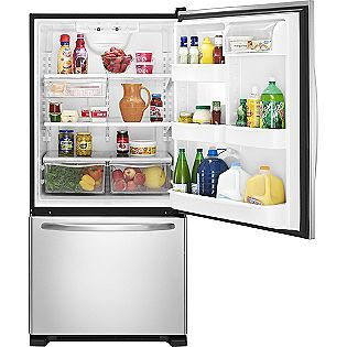 Amana- -21.9 cu. ft. Single Door Bottom Freezer Refrigerator - Stainless Steel ENERGY STAR®