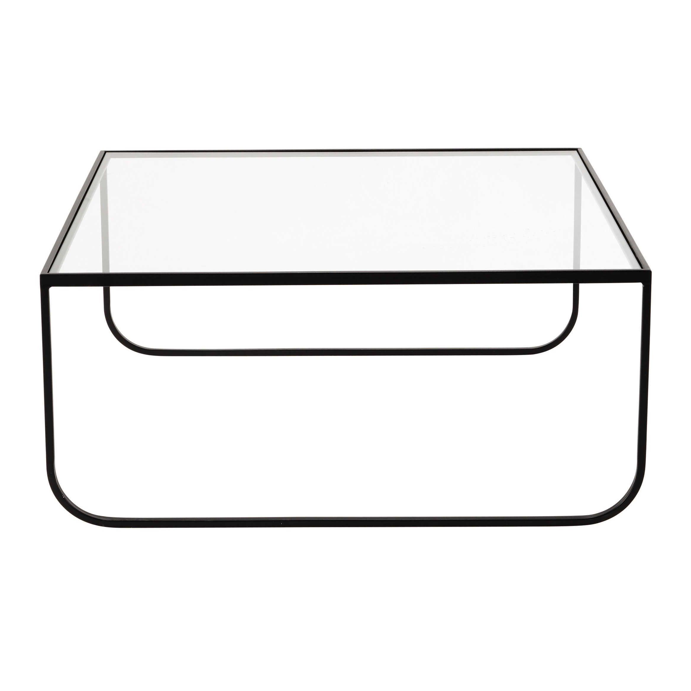 Metal and tempered glass square coffee table W 90cm Dixon