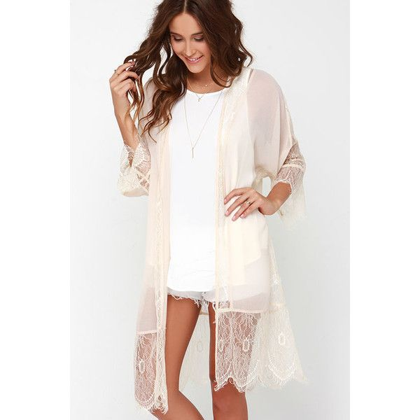 Perfume Parlour Beige Lace Kimono Top ($38) ❤ liked on Polyvore