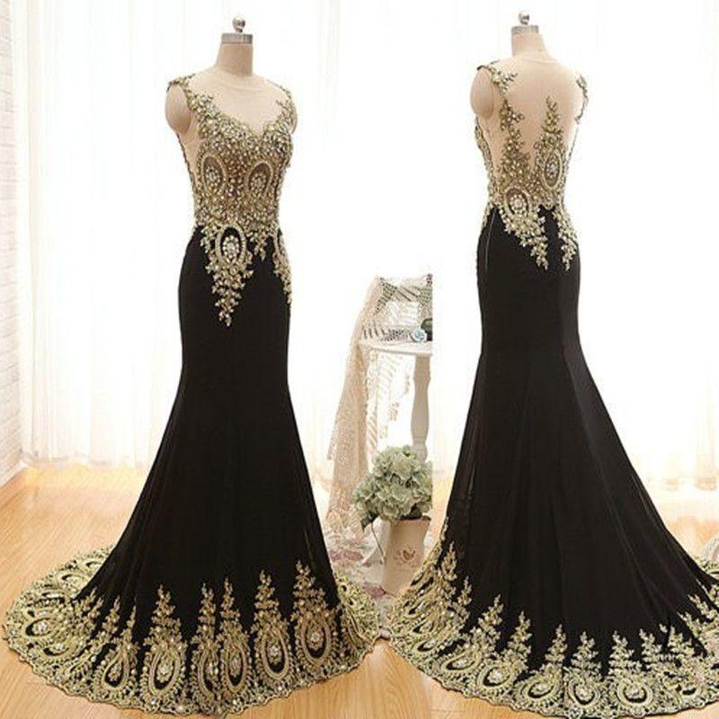 Gold Beaded Scoop Sleeveless Evening Dress Long Party | Dresses ...
