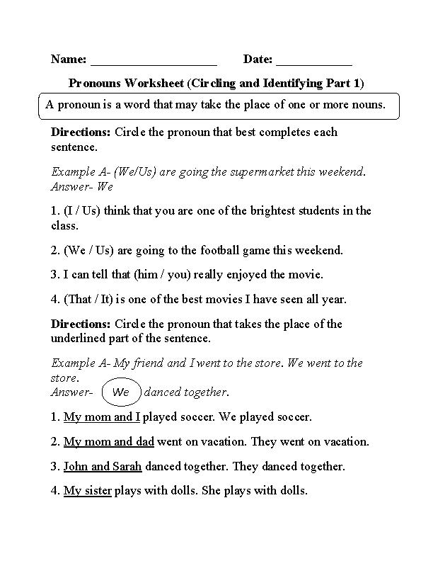 Circling and Identifying Pronouns Worksheet | TEACHING | Pinterest