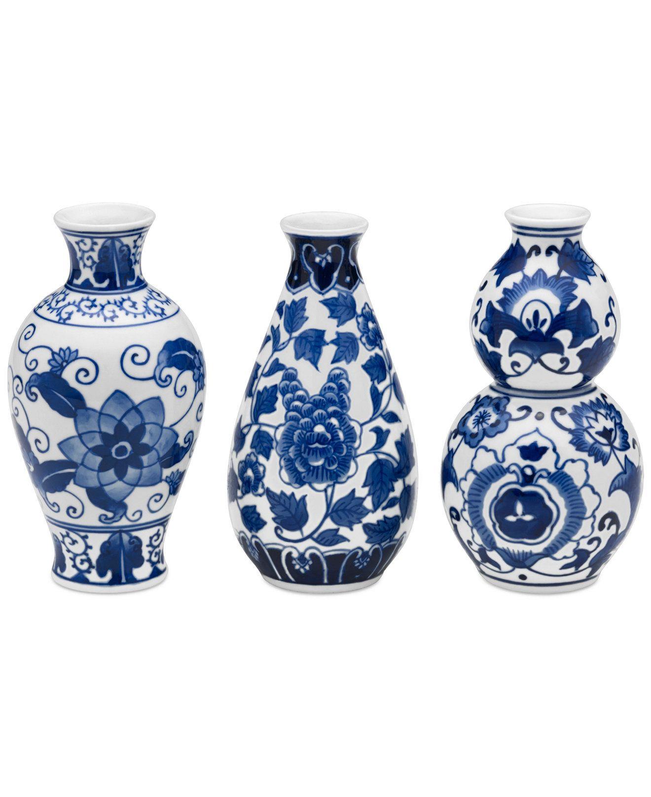 Bombay Set Of 3 Blue And White Ceramic Vases Bowls Vases For The Home Macy S White Ceramic Vases Blue And White Vase Ceramic Vases Blue and white vases cheap