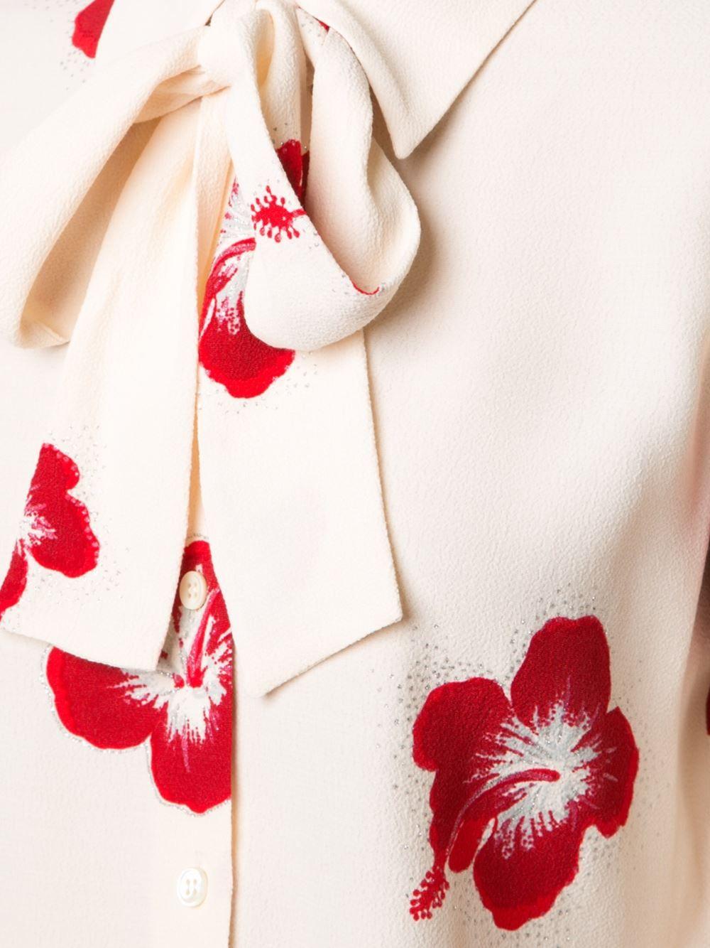 Saint Laurent Hibiscus Floral Print Shirt Ss Pinterest Floral