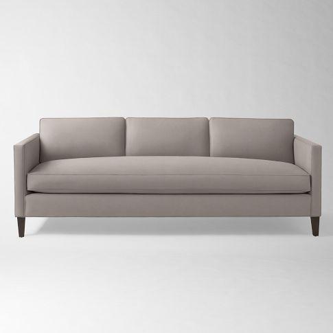 Dunham Down Filled Sofa Box Cushion In Linen Blend Flax