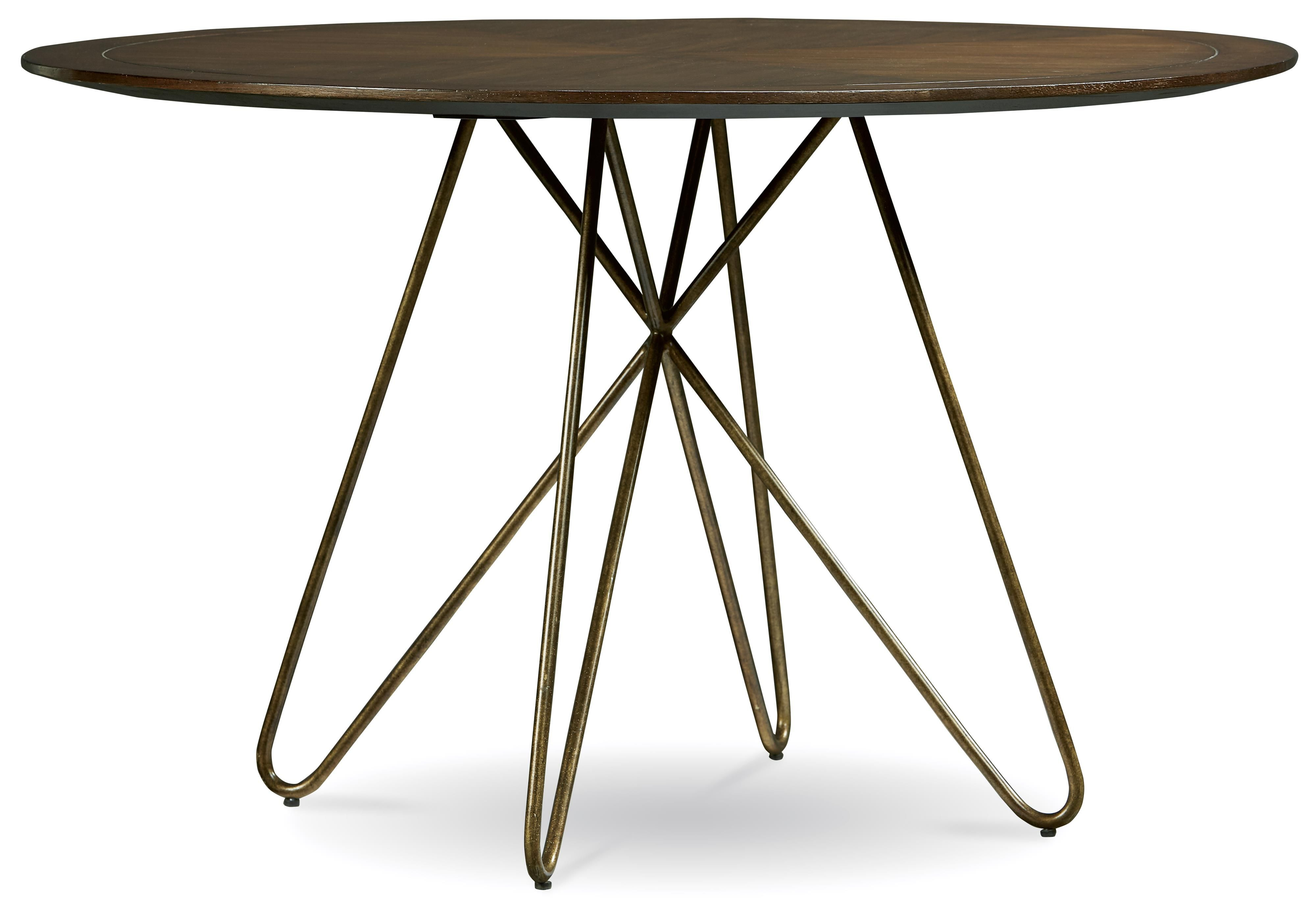 Silver Lake Round Dining Table With Hairpin Leg Pedestal By A R T