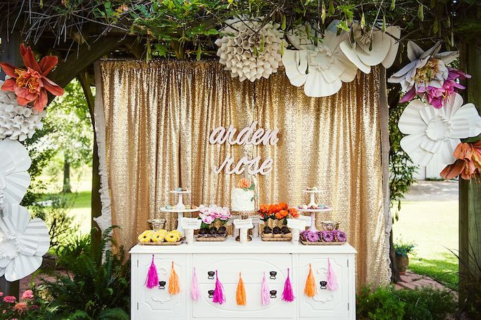 Sweet Table From A First Birthday Garden Party Via Karau0027s Party Ideas |  KarasPartyIdeas.com Great Ideas