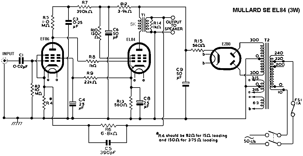 Mullard Single Ended (SE) EL84 Tube Amplifier Schematic | DIY AUDIO