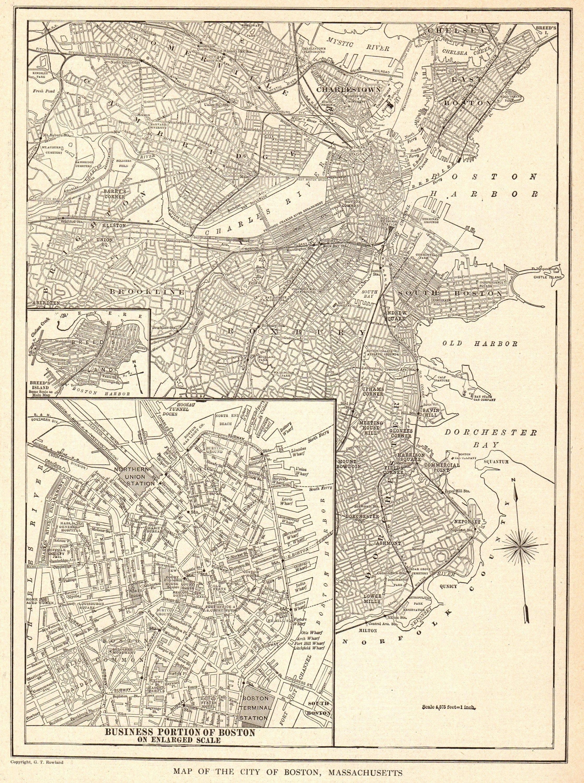 1923 Antique Boston City Map Street Map Of Boston Etsy Boston City Map Boston Map Vintage Map